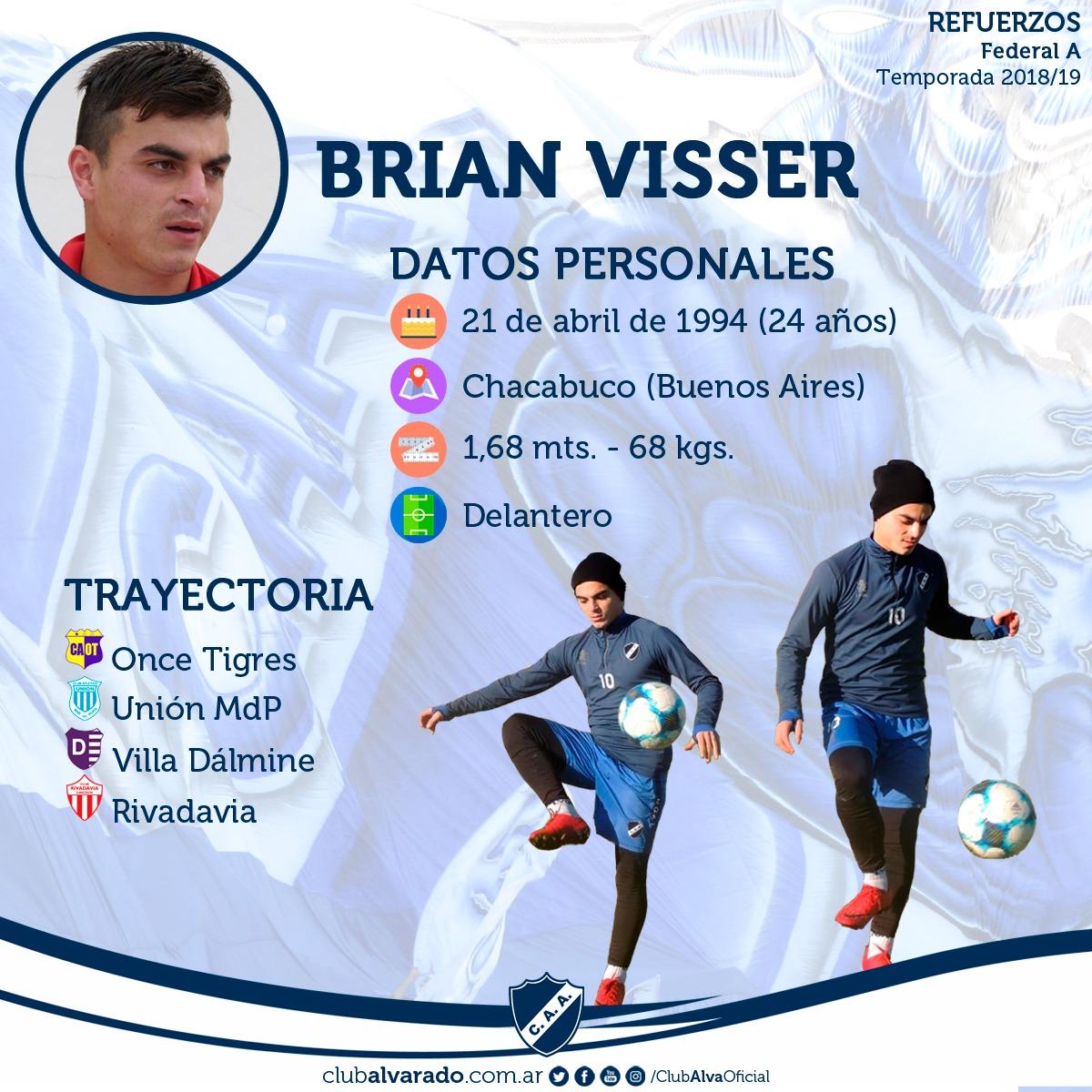 Brian Visser, la primera cara nueva para Alvarado