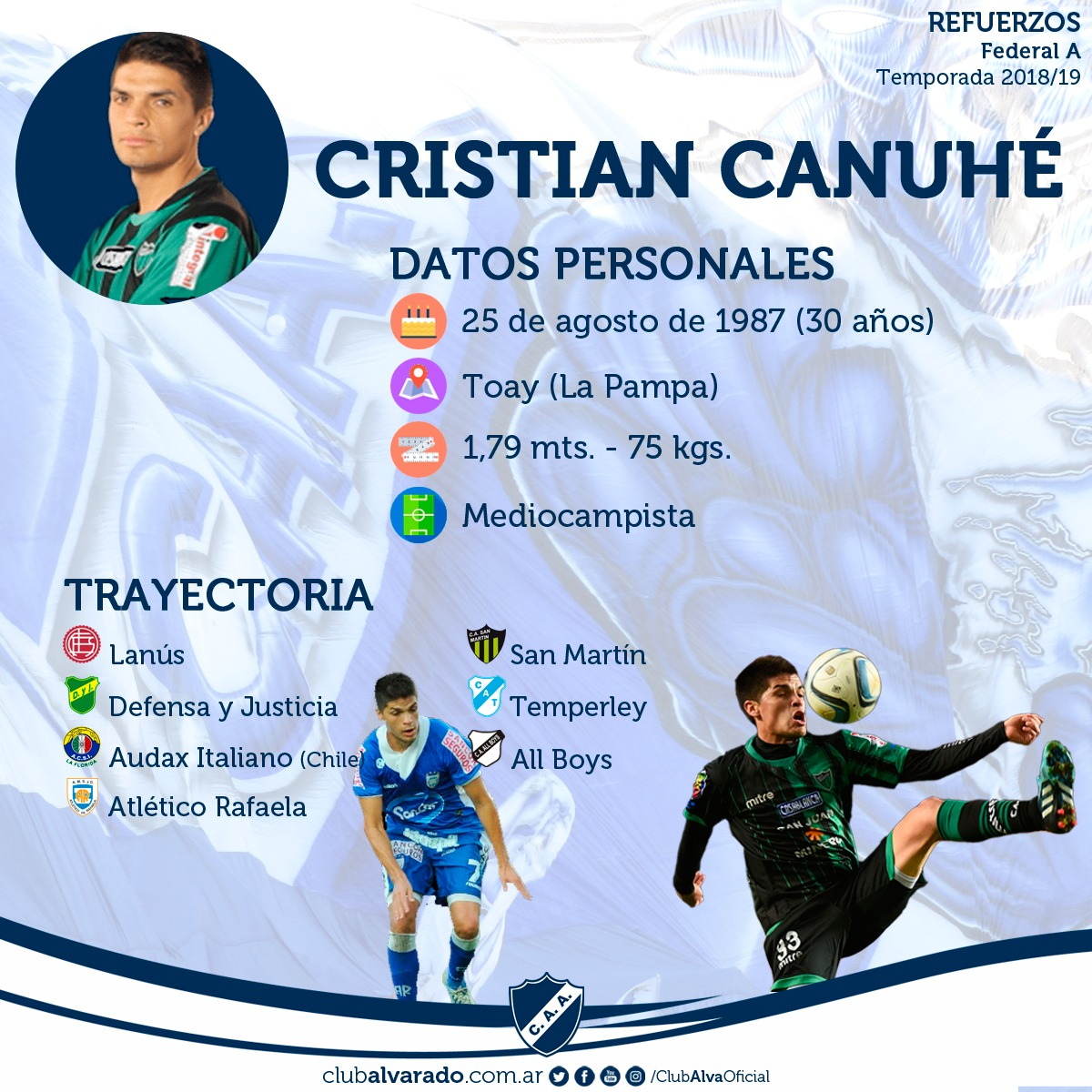 Cristian Canuhé, más juego y experiencia para el mediocampo