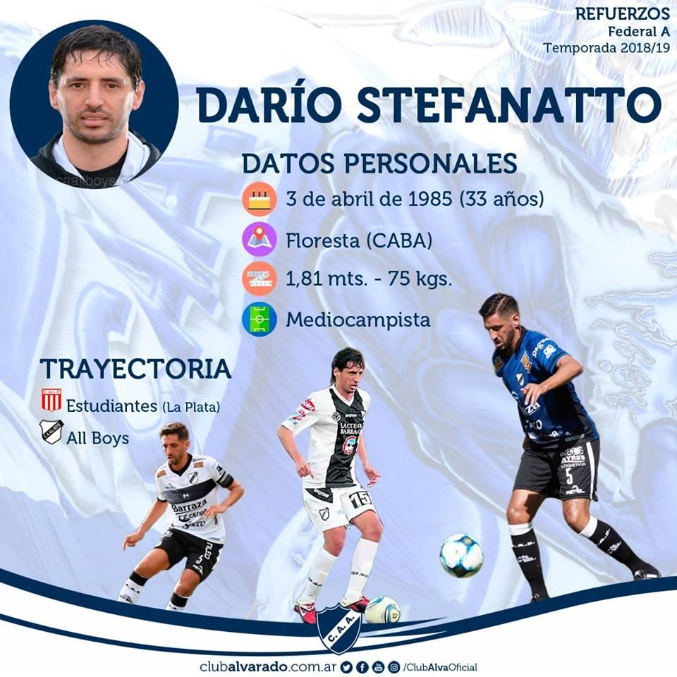 Darío Stefanatto, un volante central con experiencia para Alvarado