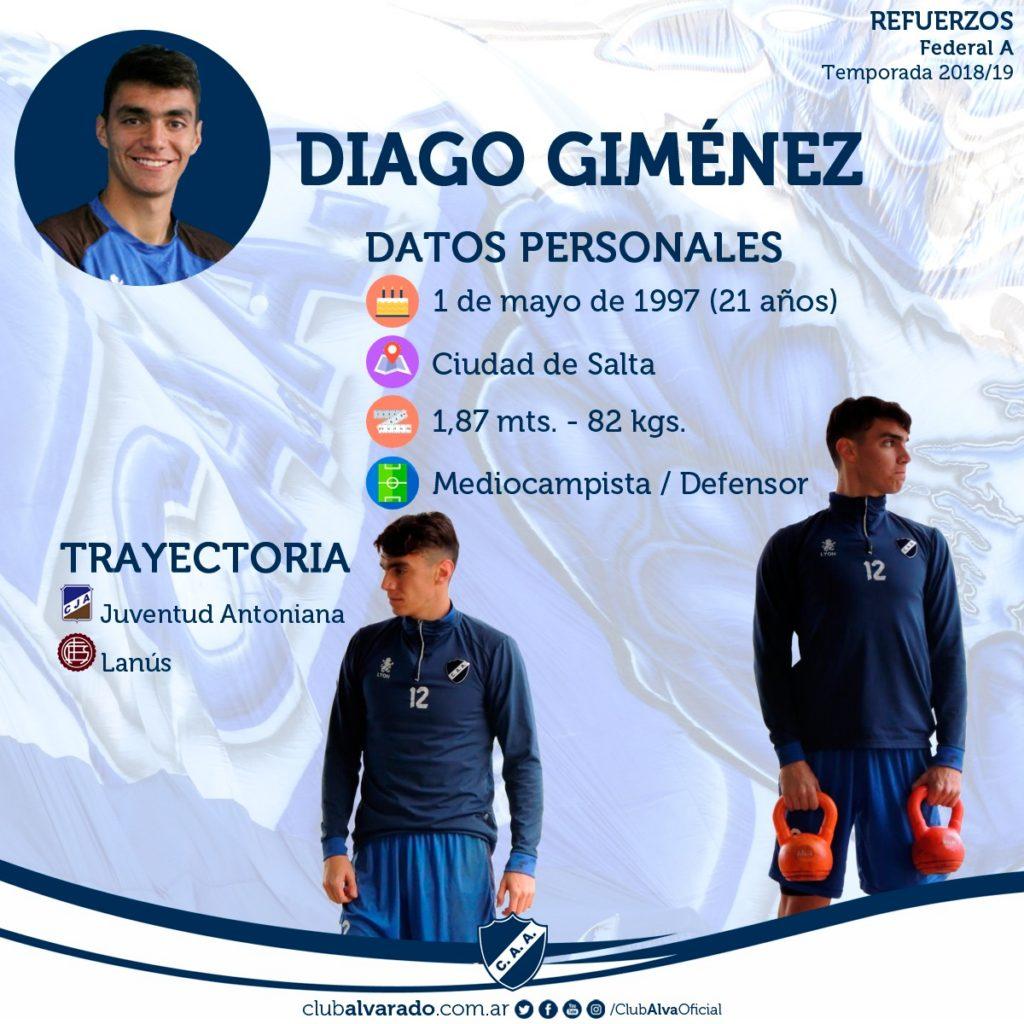 Diago Giménez ya entrenó con el plantel y es un buen refuerzo para Alvarado