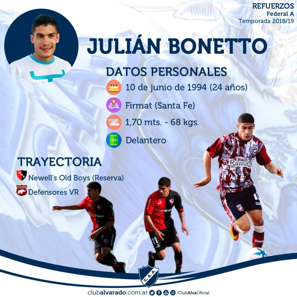 Julián Bonetto, otra carta ofensiva para Alvarado