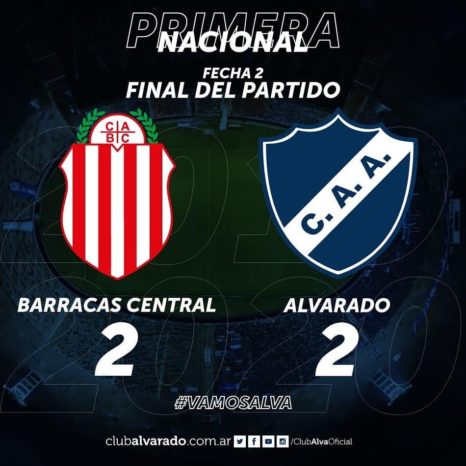 Alvarado empató en su visita a Barracas