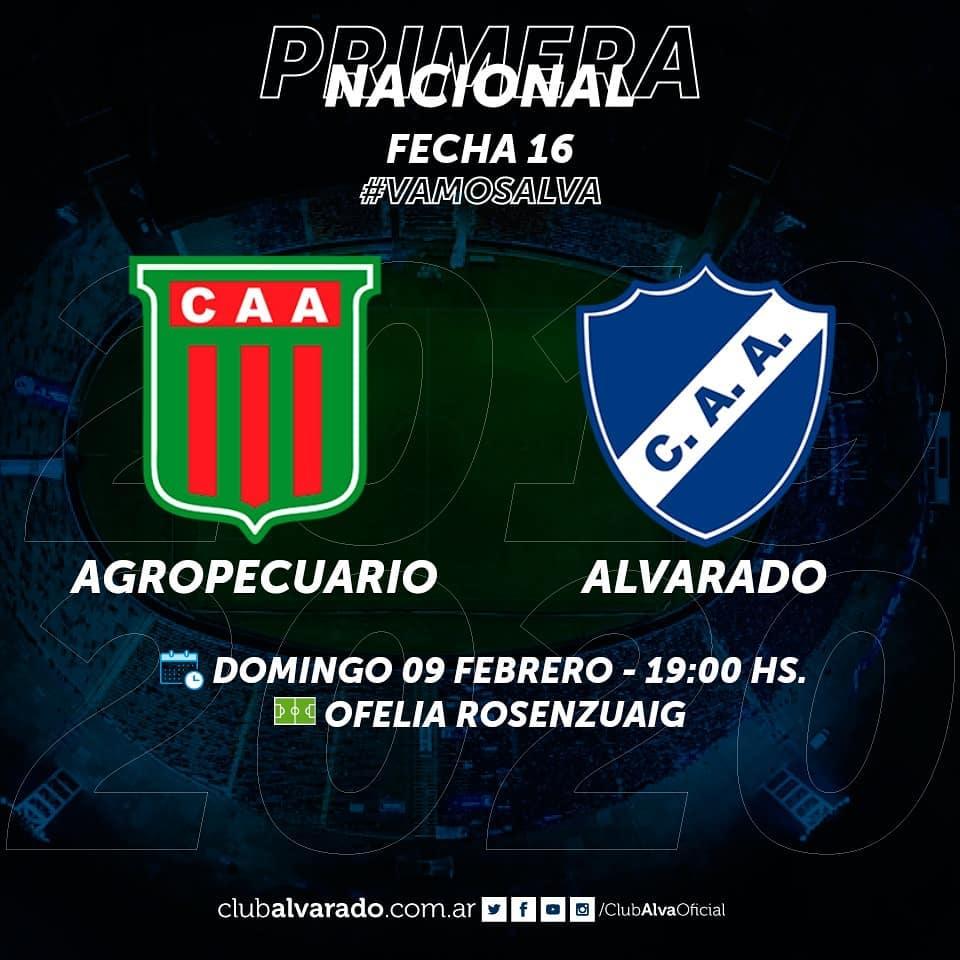 Alvarado visitará a Agropecuario el domingo 9 de febrero