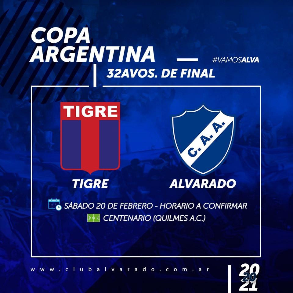 Copa Argentina: Alvarado jugará con Tigre el 20 de febrero